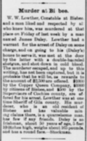 Arizona Weekly Citizen April 26, 1890 murder Bisbee