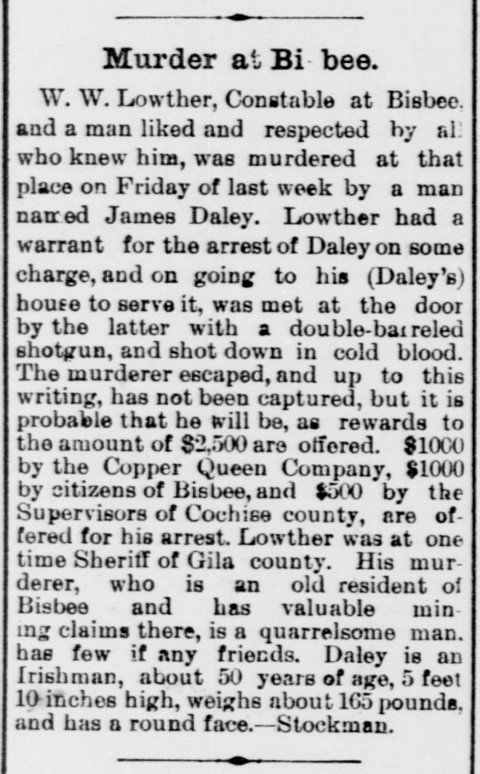 Arizona Weekly Citizen April 26,  1890 murder Bisbee