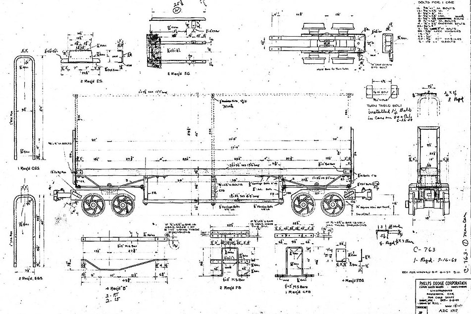 1944 blueprint of man car by the Phelps Dodge Corp