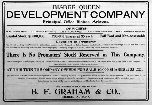 Ad for stock in Bisbee Queen Development Company