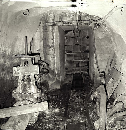 Water door on 12 XC, 2700 level, Campbell Mine