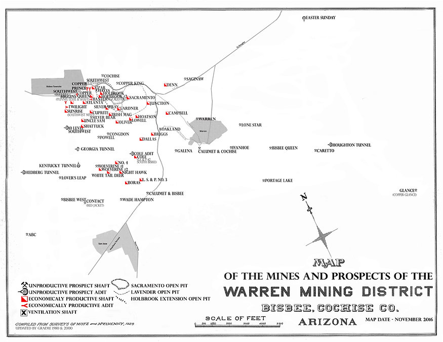 Map of the important bisbee mines