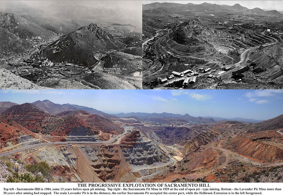 The progression of the mining of sacrameto hill