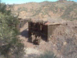 Two of three ore bins on the Higgins mine site