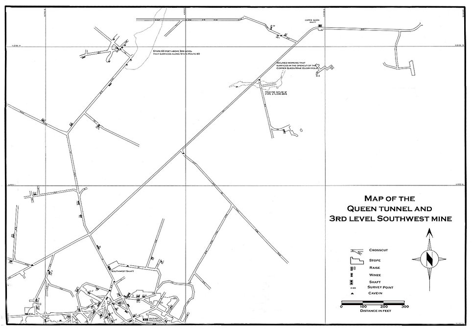 Map of  Copper Queen mine Tour