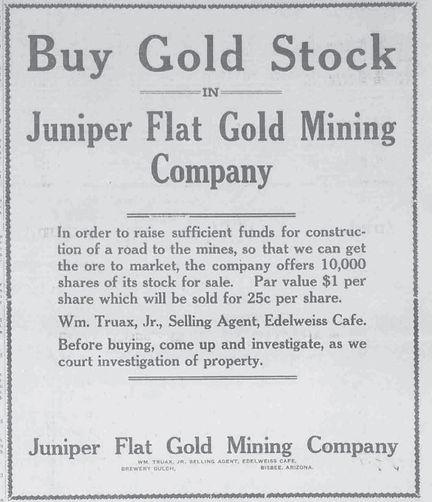 Ad for stock in the Juniper Flats Mine