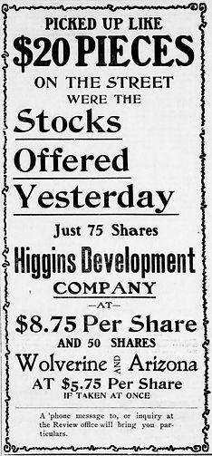 Ad for Stock in the Wolverine & Arizona