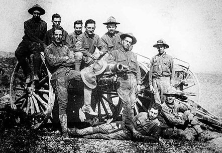 soldiers on cannon near Bisbee