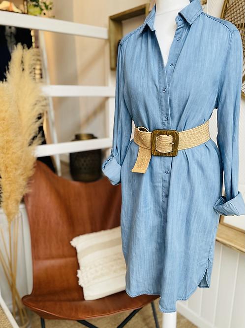 Robe chemise fluide Bleu jean