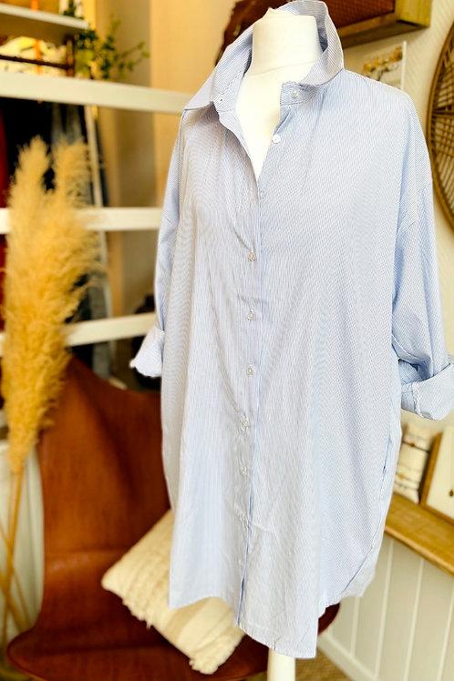 Robe chemise oversize à rayures Bleu