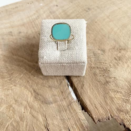 Bague carré - Doré/Turquoise