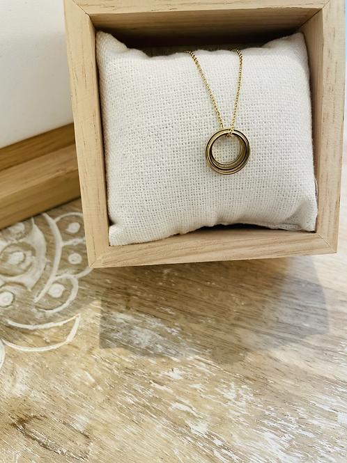 Collier pendentif 3 cercles - Doré