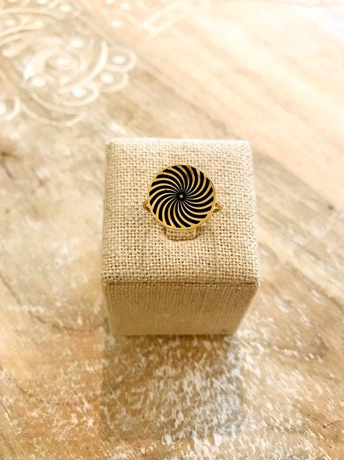Bague spirale - Doré/Noir
