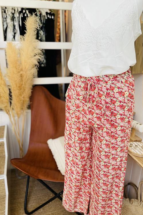 Pantalon large fleurie Corail