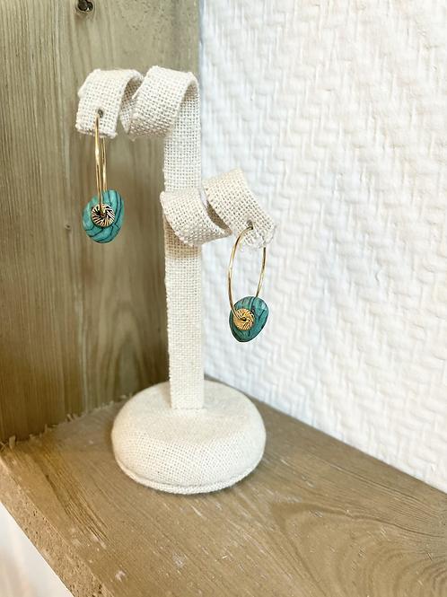 Boucles d'oreilles - Doré/Vert
