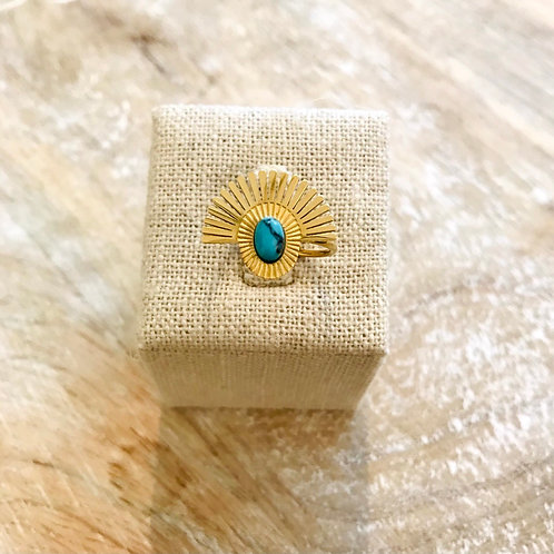 Bague perle - Doré/Turquoise