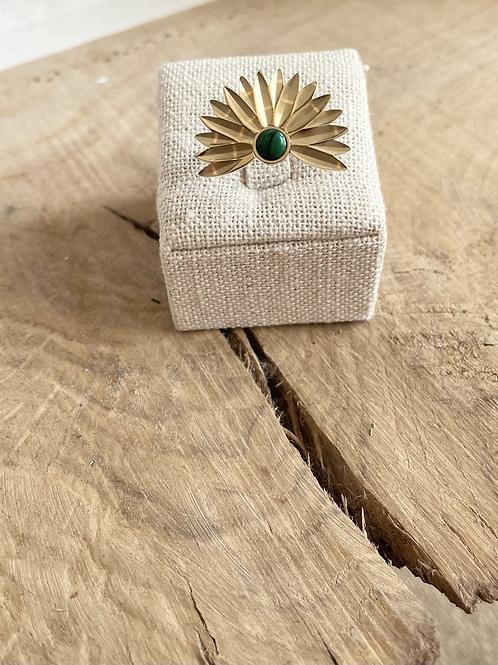 Bague fleur - Doré/Vert