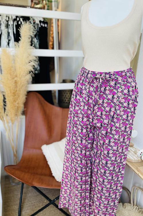 Pantalon large fleuri Violet