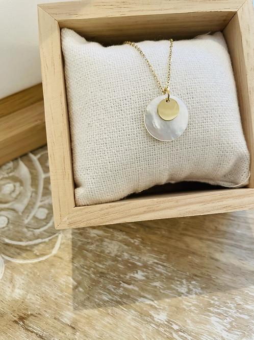 Collier pierre blanche - Doré