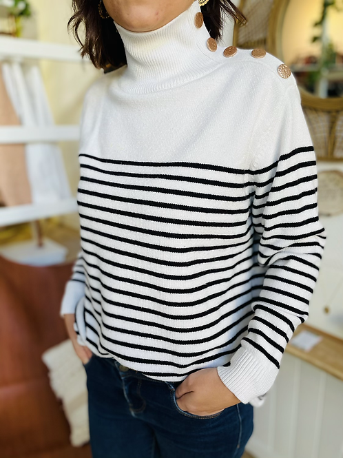 Pull marinière Blanc