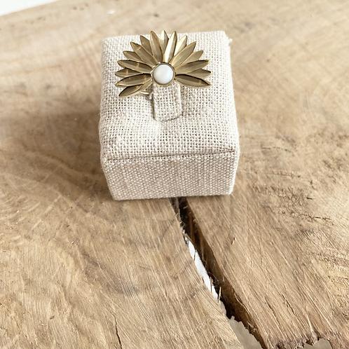 Bague fleur - Doré/Blanc