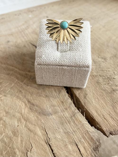 Bague fleur - Doré/Turquoise