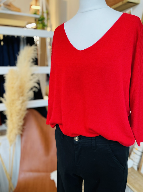 Pull maille fine Rouge