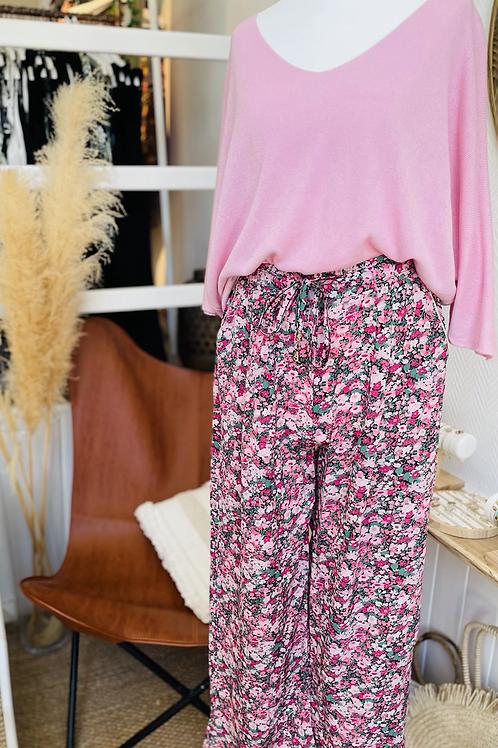 Pantalon large fleuri Rose fuchsia