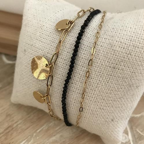 Bracelet multirangs - Doré/Noir