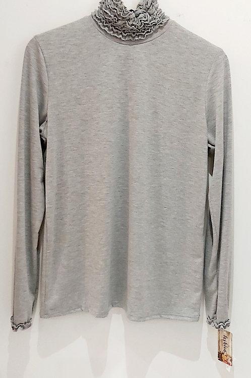Grey Basic Ruffle Neck Polo