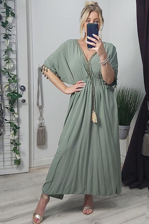 Khaki Grecian Tassel Maxi Dress