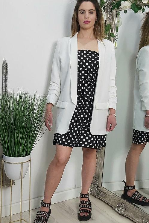 White Ruffle Sleeve Open Blazer