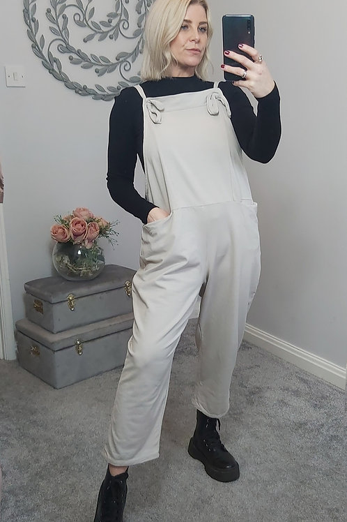 Slouch Oversized Cotton Dungarees In Cream