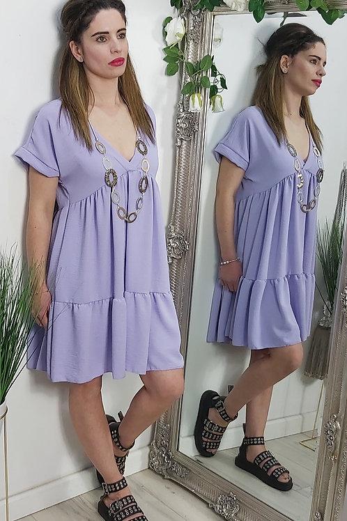 Lilac Tiered Mini Smock Dress