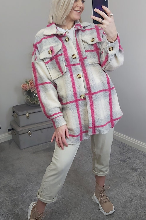 Fuchsia Pink Checked Boxed Fit Shacket