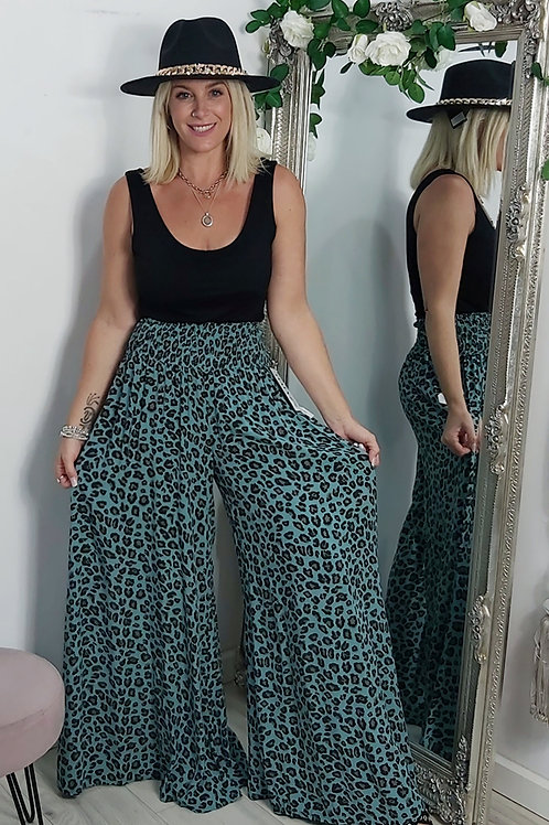 Leopard Wide Leg Palazzo Trousers In Teal