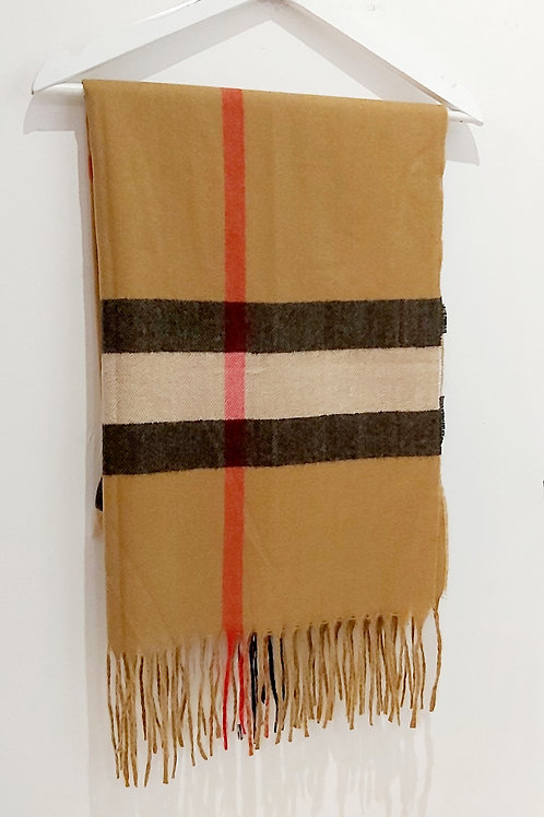 Tan Cashmere Inspired Checked Scarf