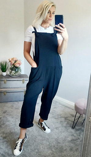 Slouch Jersey Dungarees In Black