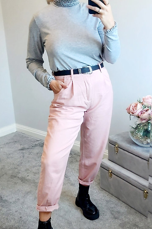 Pink Cotton Loose Fitting  Mom Jeans
