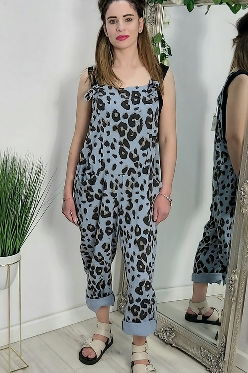 Light Blue Leopard Slouch Oversized Cotton Dungarees
