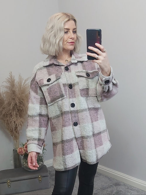 Pink Checked Boxed Fit Shacket
