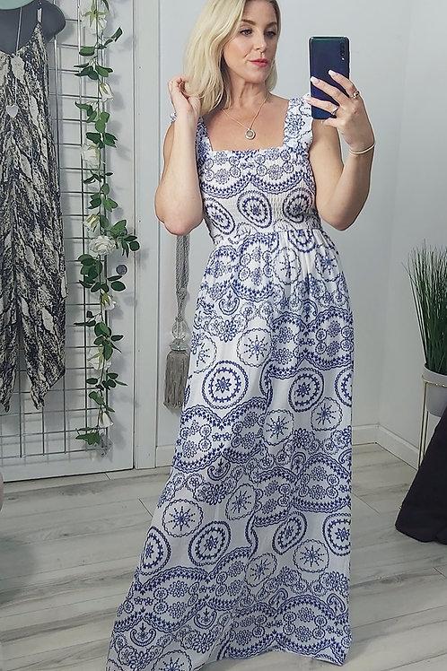 Blue Paisley Ruffle Strap Maxi Dress