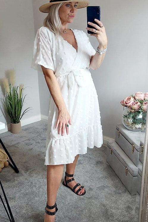 White Bobble Polkadot Wrap Midi Dress