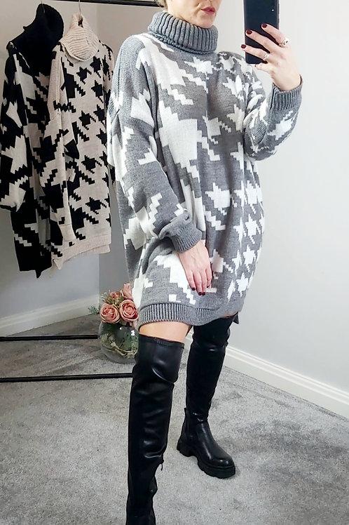 Grey Dog Tooth Jumper/Dress