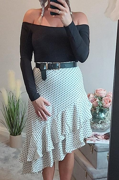 Polka Dot Frill Hem Asymmetric Skirt