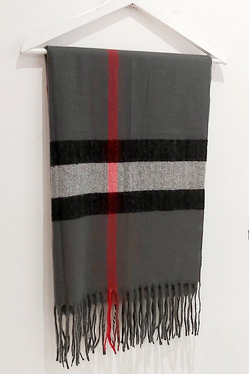 Grey Cashmere Checked Inspired Scarf