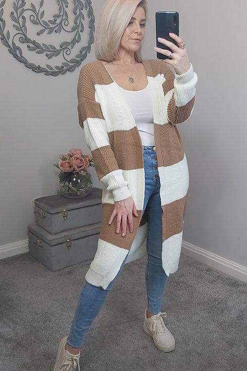 Tan & White Stripe Cardigan