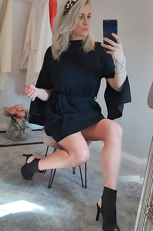 Slit Arm Longline Jumper Dress In Black
