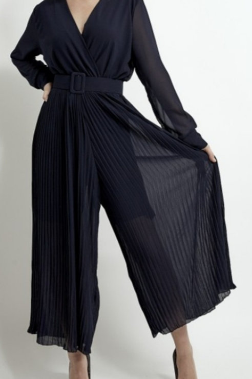 Navy Pleated Jumpsuit With Self Fabric Belt