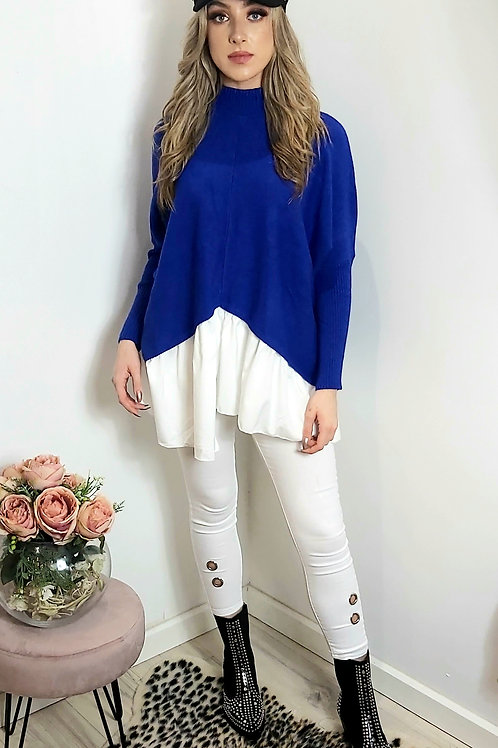 Blue High Neck Slouch Shirt/Jumper